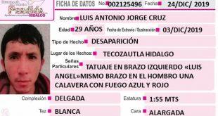 Luis Antonio Jorge Cruz desapareció en Tecozautla