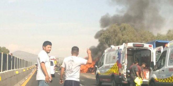 Se registra accidente en camioneta sobre la México-Pachuca