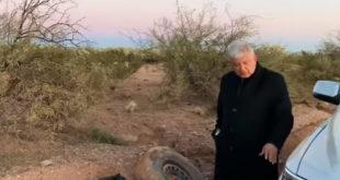 """""""Se nos ponchó la llanta"""": AMLO se queda varado en Sonora"""