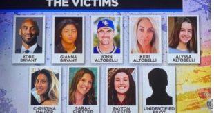 Identifican a las víctimas en accidente de helicóptero de Kobe Bryant