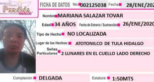 Se busca a Mariana Salazar, desapareció en Atotonilco de Tula